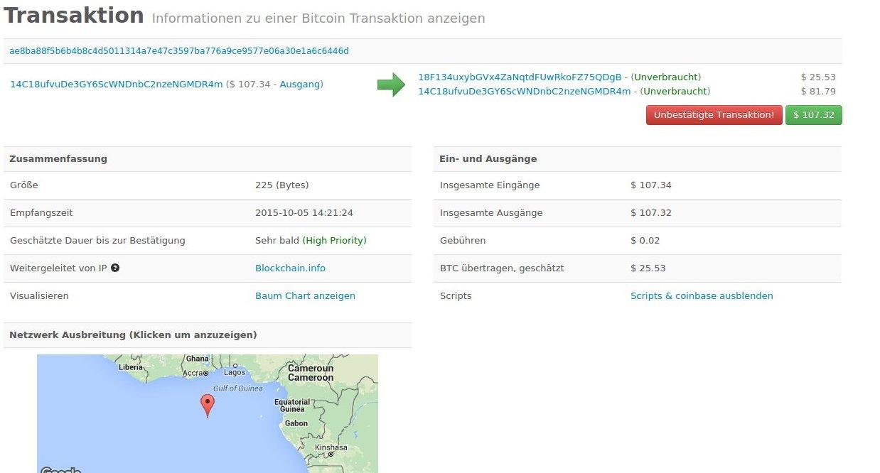 Beispiel einer Bitcoin Transaktion
