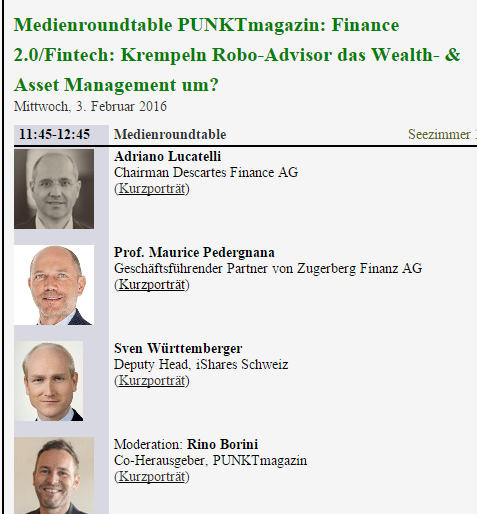 Finance 2.0 Robo Advisor Panel Finanzmesse Zürich