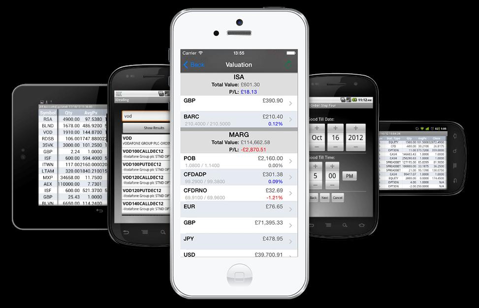 iDealing online broker mobile platform