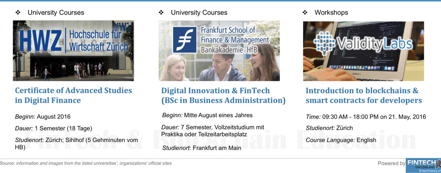 Fintech and Blockchain Education: University Courses and Workshops in Switzerland and Germany