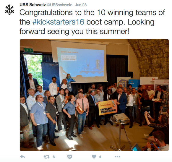 UBS Schweiz twitter Kickstart Accelerator 2016 Fintech