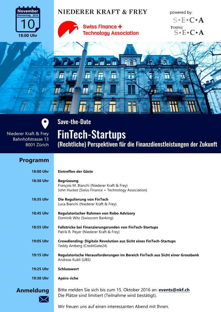 Save-the-Date FinTech-Startups
