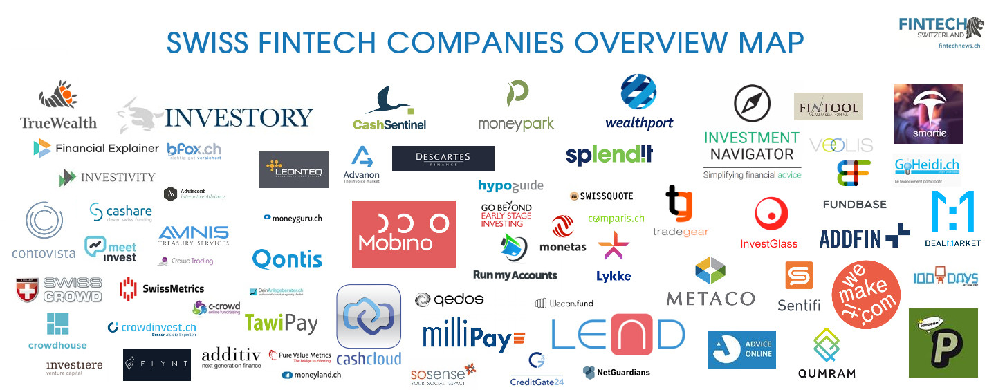 Swiss Fintech Companies Overview Map; 65 Startups Born in Switzerland