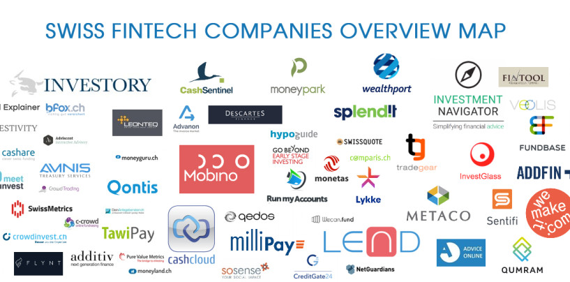 Swiss Fintech Companies Overview Map; 65 Startups Born in Switzerland