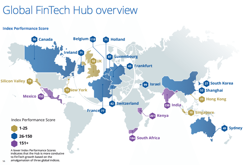 Global Fintech Hubs overview Deloitte report