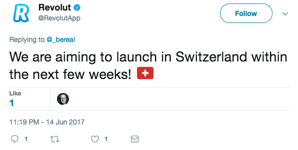 Revolut launch Switzerland tweet