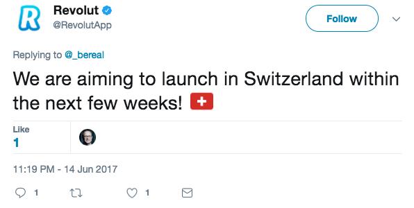 Revolut launch Switzerland tweet