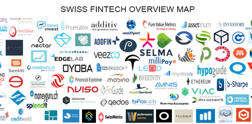 """BORN IN SWITZERLAND"" Swiss Original Fintech Overview Map 104 Companies per 1.1.2018"