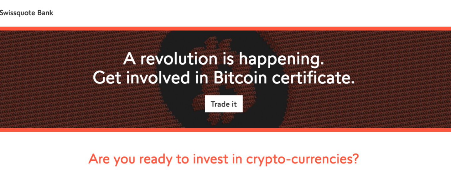 Swissquote Launches First Actively Managed Bitcoin Certificate Traded on SIX Swiss Exchange