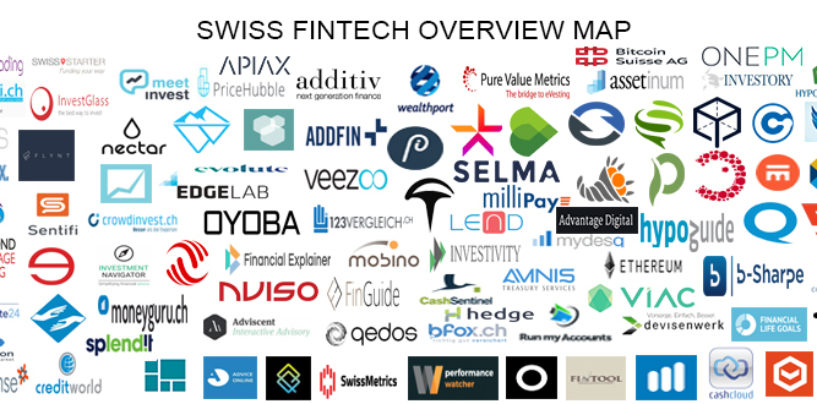 """BORN IN SWITZERLAND"" Swiss Original Fintech Overview Map 109 Companies per 3.2.2018"