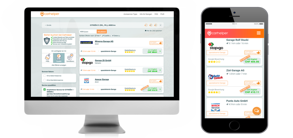Carhelper Desktop und Mobile Plattform