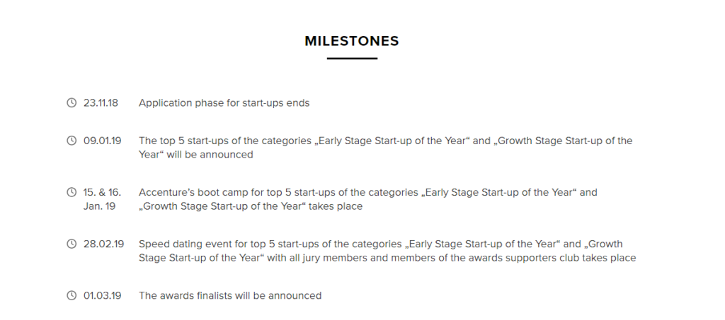Milestones for the Swiss Fintech Awards 2019