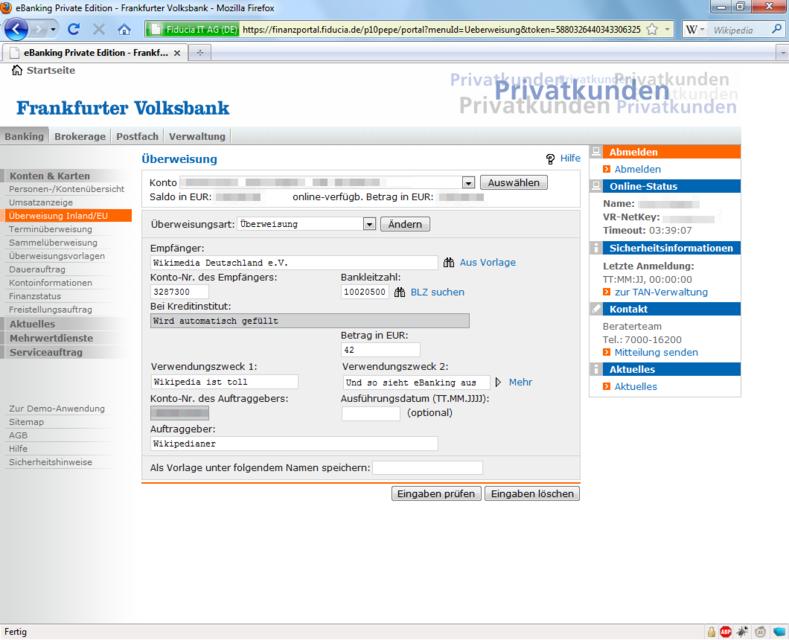 Einzelheiten Exemplarisch: Vornehmen einer Überweisung im Onlinebanking-Portal einer Bank