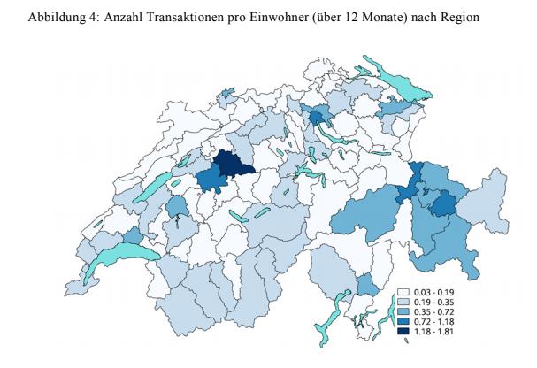 Anzahl Transaktionen pro Einwohner nach Region