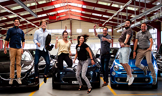 Carvolution Team in their HQ garage in Bannwil, Switzerland