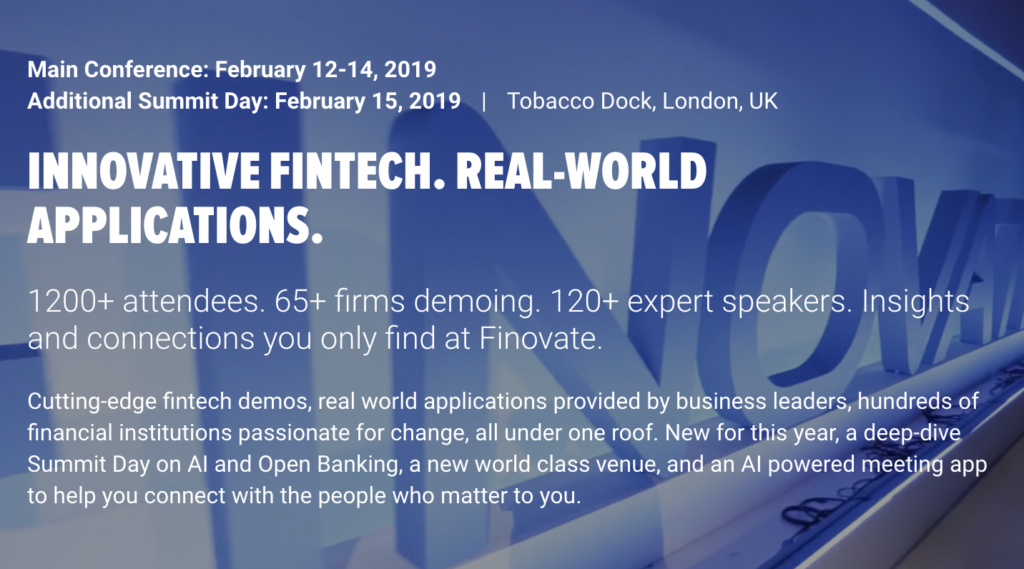 Fintech Events Conferences London 2019 - FinovateEurope 2019