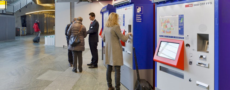 Rechnungen am SBB Automaten Bezahlen- Barzahlen
