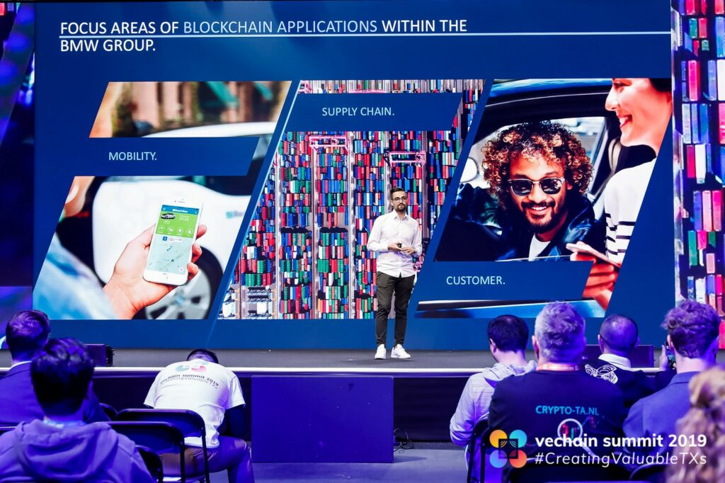 Cihan Albay, leader at BMW Group Asia's IT Tech Office in Singapore, VeChain Summit 2019, April 18, 2019, by @vechainofficial, via Twitter