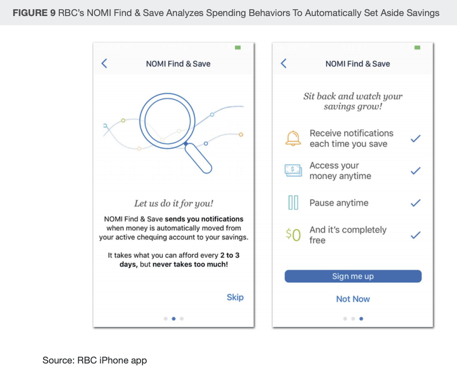 Image: RBC's NOMI Find & Save Analyzes Spending Behaviors To Automatically Set Aside Savings, Financial Services Firms Need to Rethink Personalization, Forrester, September 2019