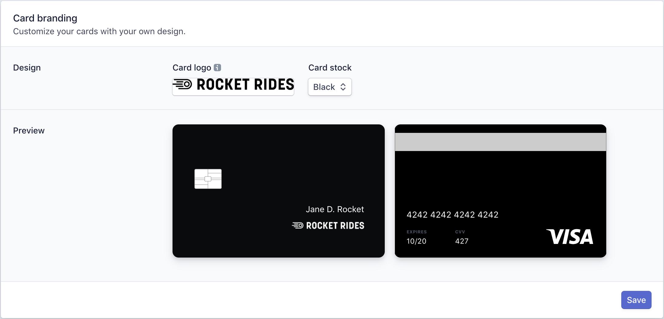 Card branding, Stripe Issuing, via stripe.com