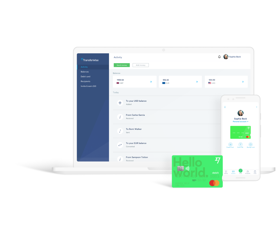 TransferWise Borderless account and debit card, Source- TransferWise