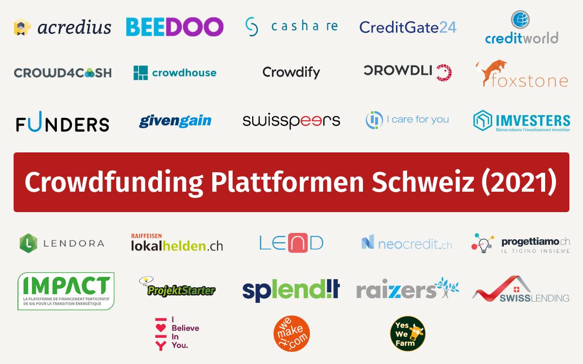 Crowdfunding platforms in Switzerland (2021), Source: Swisspeers